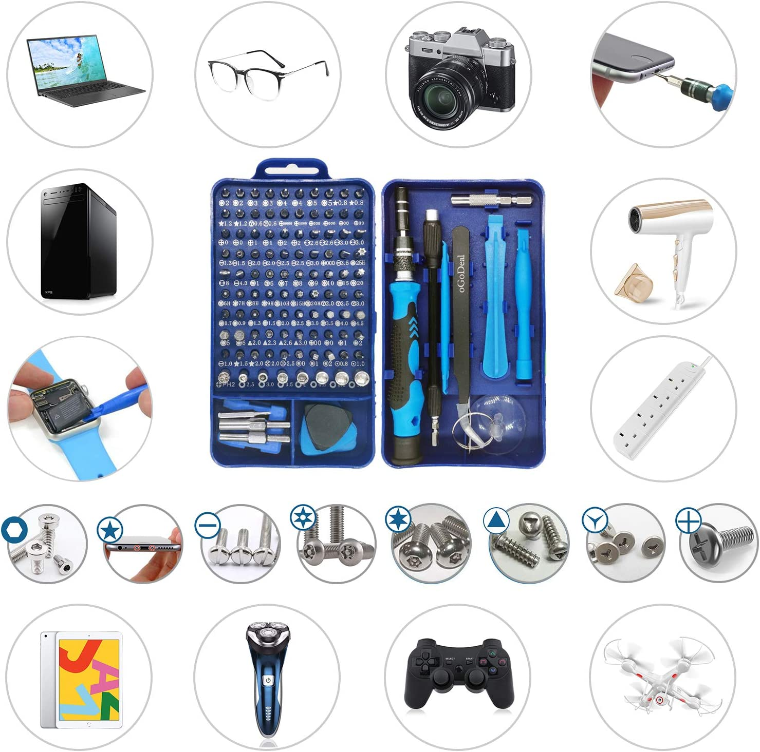 Eyeglasses Laptop oGoDeal 155 in 1 Professional Electronic Repair Tool Kit for Computer PC iPhone Tablet,PS3,PS4,Xbox,Macbook,Camera,Watch,Toy,Jewelers,Drone Purple