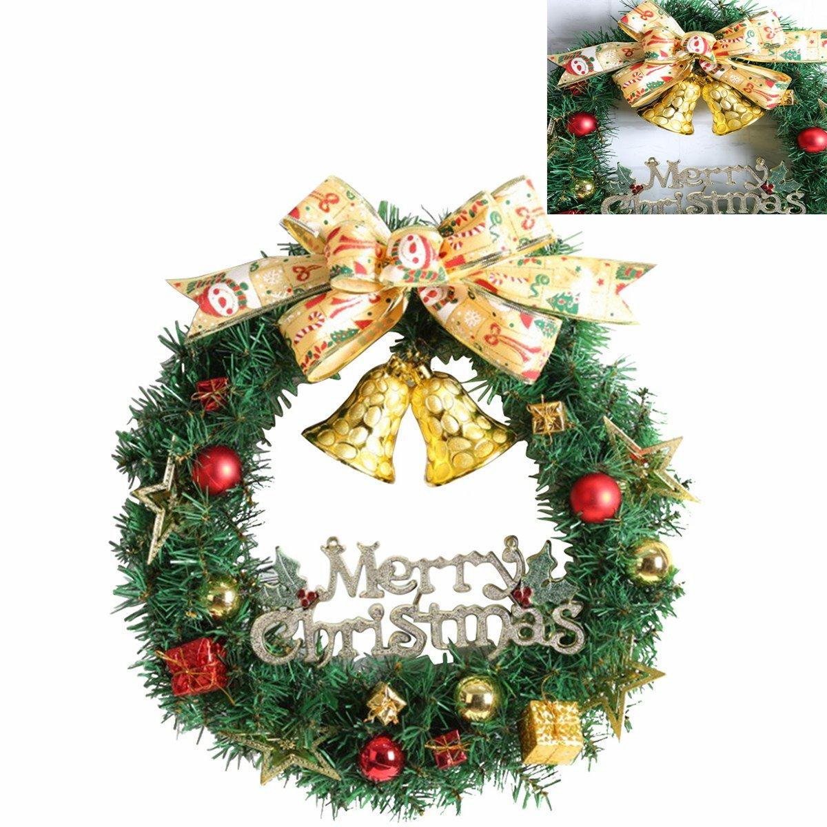 WINOMO Weihnachten Kranz Bowknot Weihnachtskranz Tannenkranz mit kugeln Stern Geschenke Weihnachtsdeko T/ür Wand Ornament