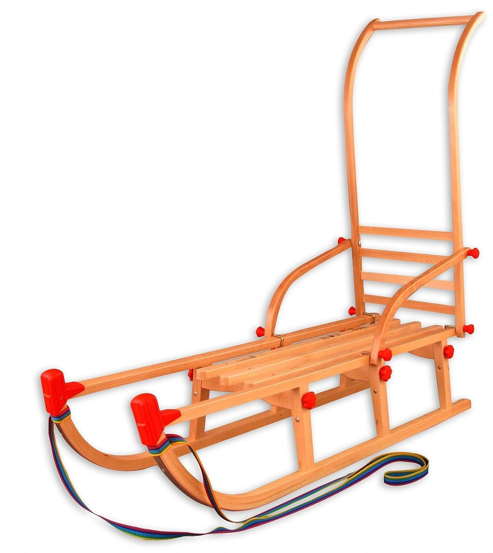 22-115-Stange Klappschlitten Davos mit Schubstange Rodelschlitten Holzschlitten 115 cm