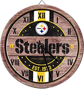 FOCO NFL Wooden Barrel Wall Clock