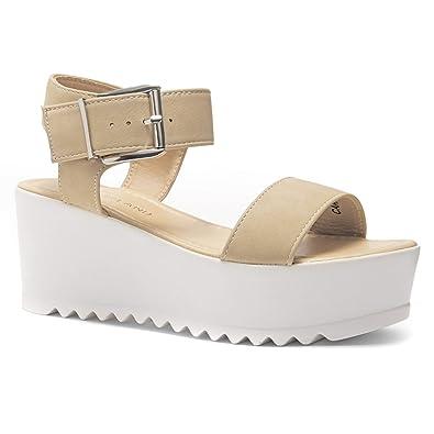 11ebf2befc Herstyle Carita Women's Open Toe Ankle Strap Platform Wedge Sandal Beige 5.0