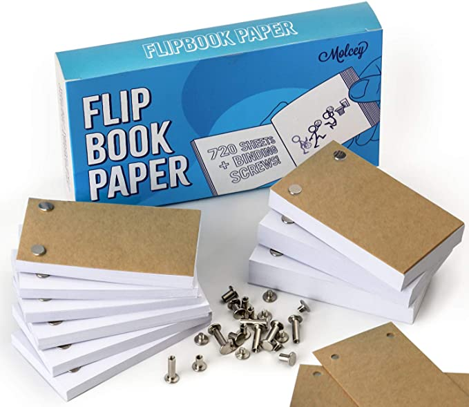 - 4.5 x 2.5 Inches for Sketching and Cartoon Creation Flip Book 3 Pack 176 Pages 88 Blank Animation Paper Sheets per Flipbook