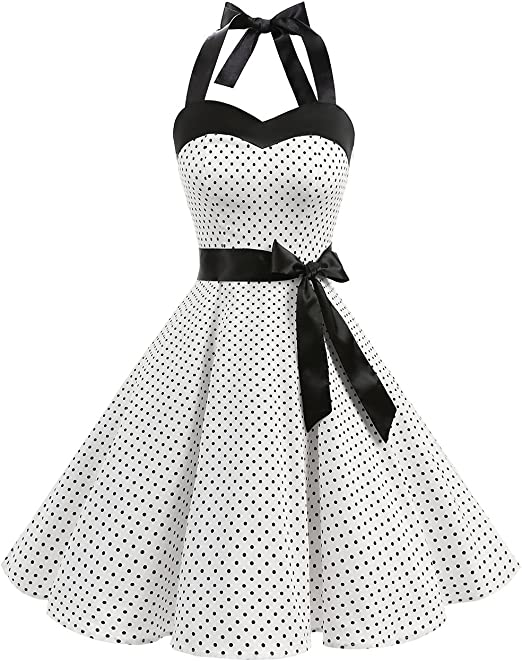 TALLA M. Dresstells® Halter 50s Rockabilly Polka Dots Audrey Dress Retro Cocktail Dress White Small Black Dot M