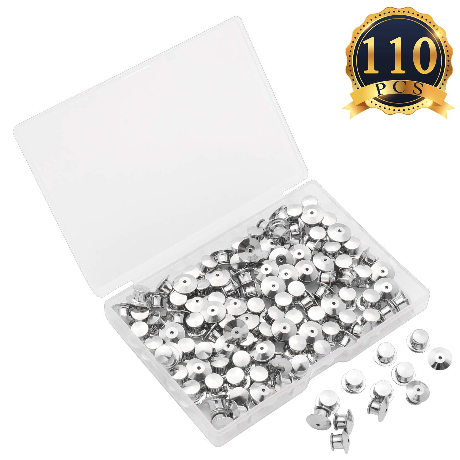 SUBANG 50 Pieces Metal Pin Backs Locking Pin Keepers Locking Clasp with Storage Case
