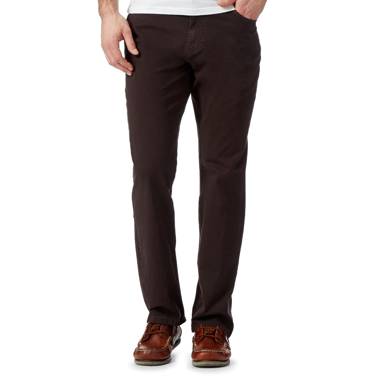 Rjr.John Rocha Mens Big And Tall Designer Brown Regular Fit Trousers