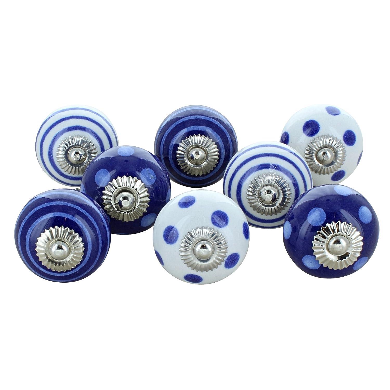 8G-Dekor, Groß, Blau und Weiß Keramik Türknauf Vintage Shabby Chic Schrank Schublade Pull Griff G Decor Ltd