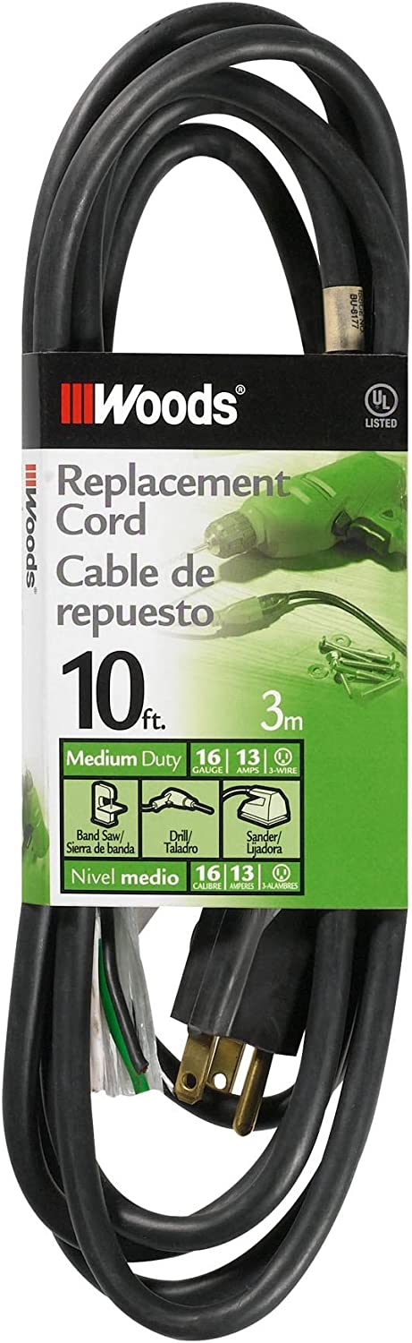 Woods 3951 16 3 Sjew Replacement Power Supply Cord Black 10 Feet Extension Cords Amazon Com
