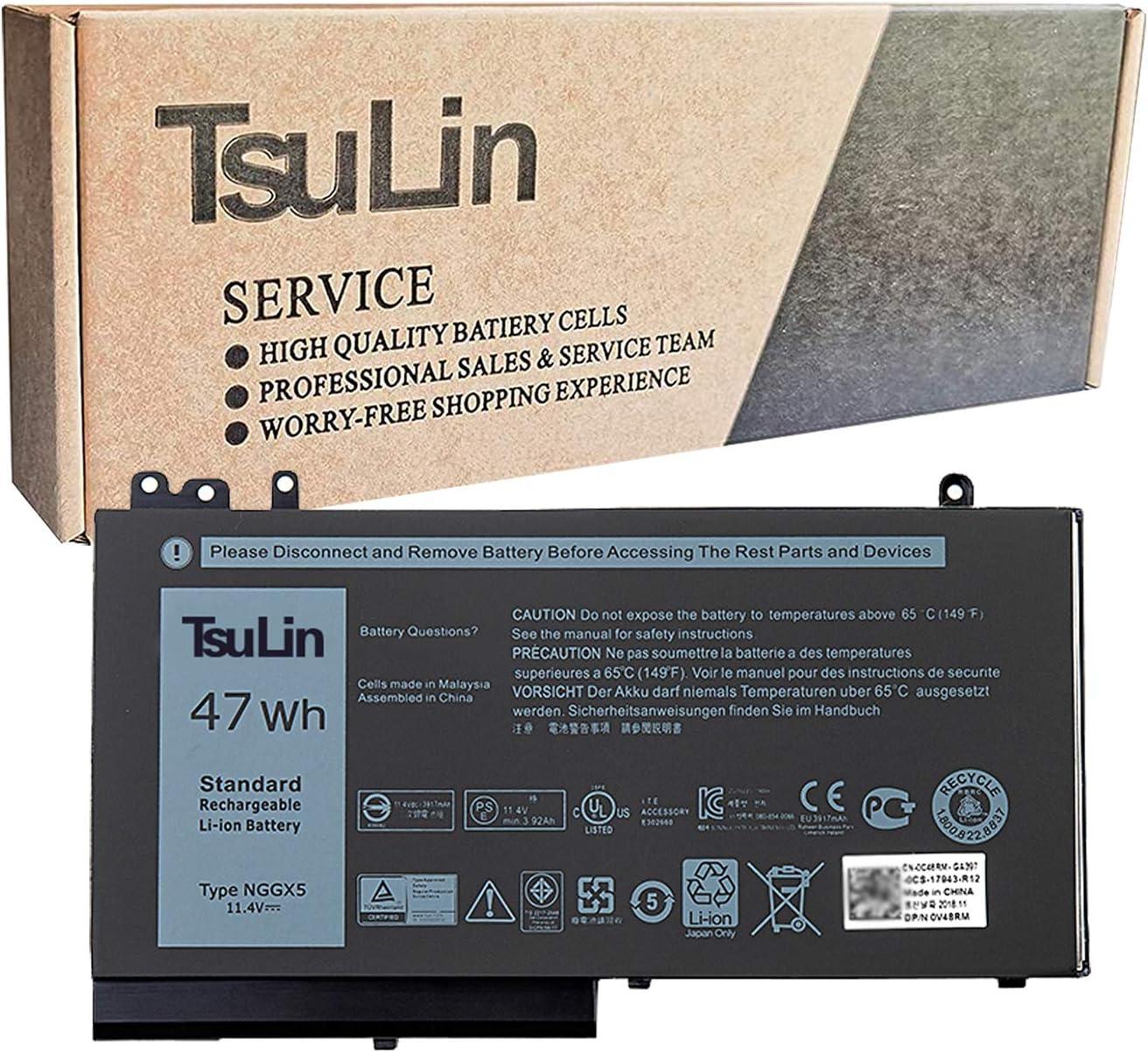 TsuLin NGGX5 Laptop Battery Compatible with Dell Latitude 5270 5470 5570 E5270 E5470 E5570 Precision 3510 Series 954DF JY8DF XWDK1 451-BBUN 451-BBUM 451-BBUK NCVW8 XKWC7 451-BBUJ 53VJ6 11.4V 47Wh
