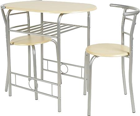 ts ideen 2820 Set 3 Pezzi Tavolo con 2 sgabelli in Alluminio e MDF Color Faggio per Cucina o Sala da Pranzo