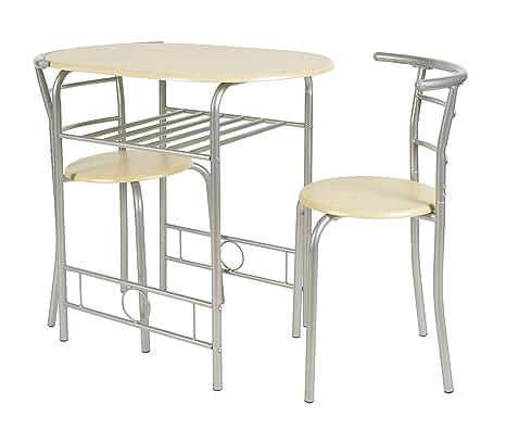 ts-ideen 2820 Set 3 pezzi Tavolo con 2 sgabelli in Alluminio e MDF ...