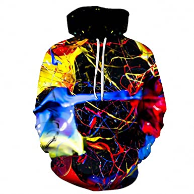1ed715190909 Image Unavailable. Image not available for. Color  Splashed paint 3D  Colorful Printed Hoodies Men Sweatshirt unisex Tracksuit Fashion Hooded ...