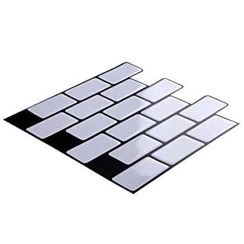 Wall Crafts 3D Mosaik Fliesensticker Selbstklebend 10 Stück Für Küche Bad,  Vinyl Fliesenfolie Schwarz Weiss