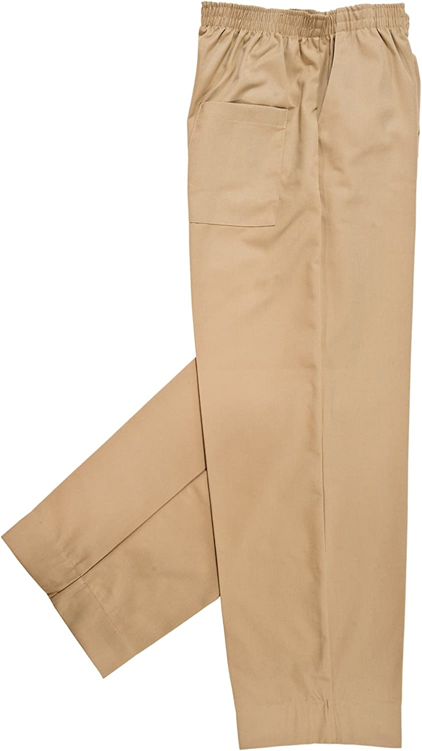 Mens Full Elastic Waist Pants with Mock Fly
