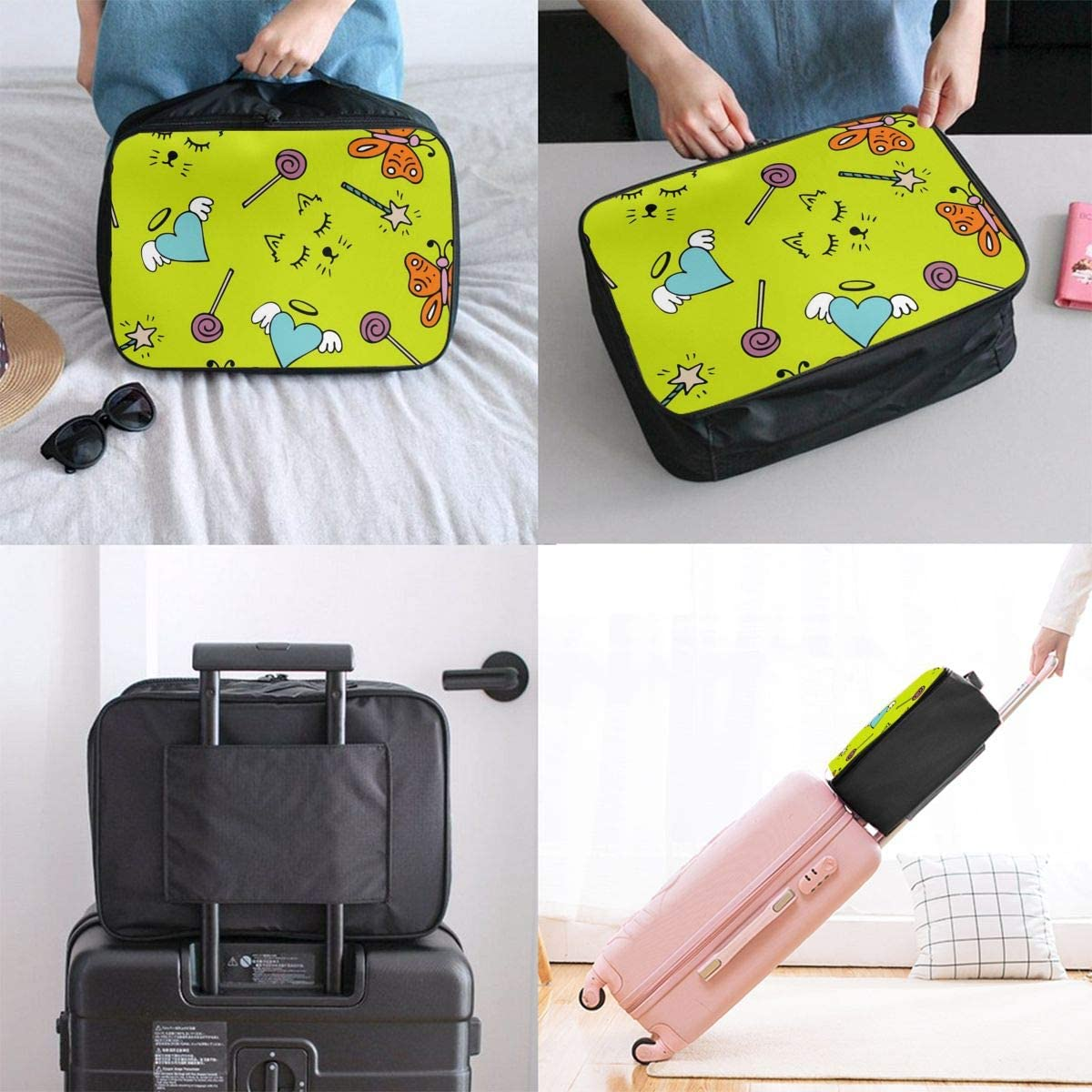 Yunshm Butterflies Love Lollipops And Other Items Customized Trolley Handbag Waterproof Unisex Large Capacity For Business Travel Storage