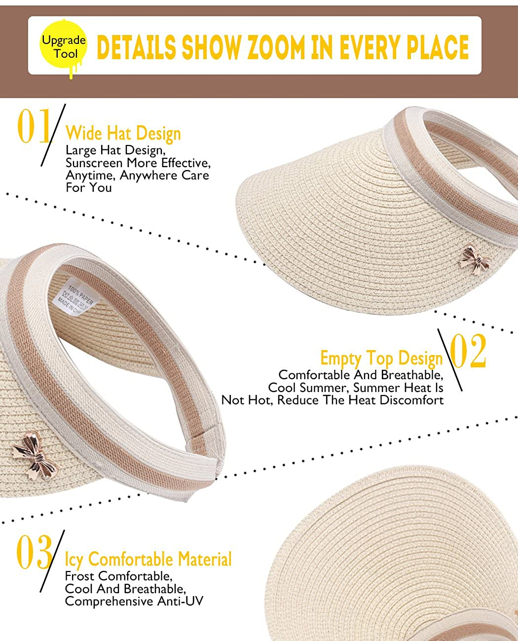 Women Summer Shade Cap Straw Empty Top Summer Sunscreen Sun Hat Beach Hats  Sun Visor Caps (Beige) at Amazon Women s Clothing store  7ea40b7368d2