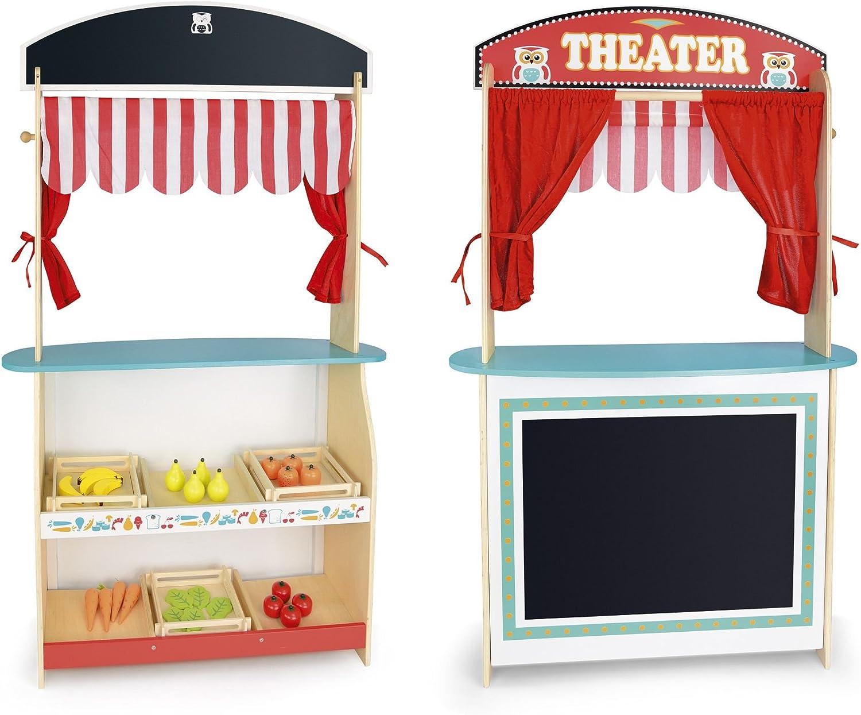 Juguete 3 En 1 Teatro De Títeres De Madera Teatro y Mercado De ...