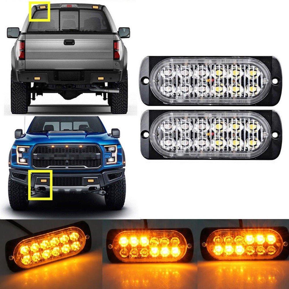 ZHITEYOU 2 pcs Ultra-Mince LED Haute Puissance 36 W Police Lumiè res 12 V-24 V 12 LED Voiture Camion D'urgence Side Strobe Avertissement Lumiè re Car Styling, White Lampes stroboscopiques