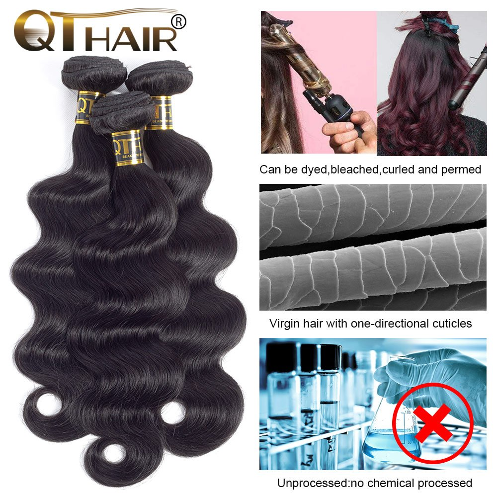 QTHAIR 10a Brazilian Virgin Hair Body Wave 4 bundles 20 22 24 26 inches 400g Unprocessed Brazilian Body Wave Human Hair Weave for Black Women Natural Color Tangle Free by QTHAIR (Image #3)