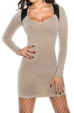 643fd2fc22b robe pull long laine taupe marron sexy femme  Amazon.fr  Vêtements ...