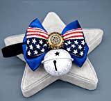 PetFavorites American Flag Dog Cat Collar Bow Tie - Patriotic Bowtie Leather Medium Large Dog Necklace with Bell - Golden Retriever Sheepdog Clothes Costume Outfits Accessories
