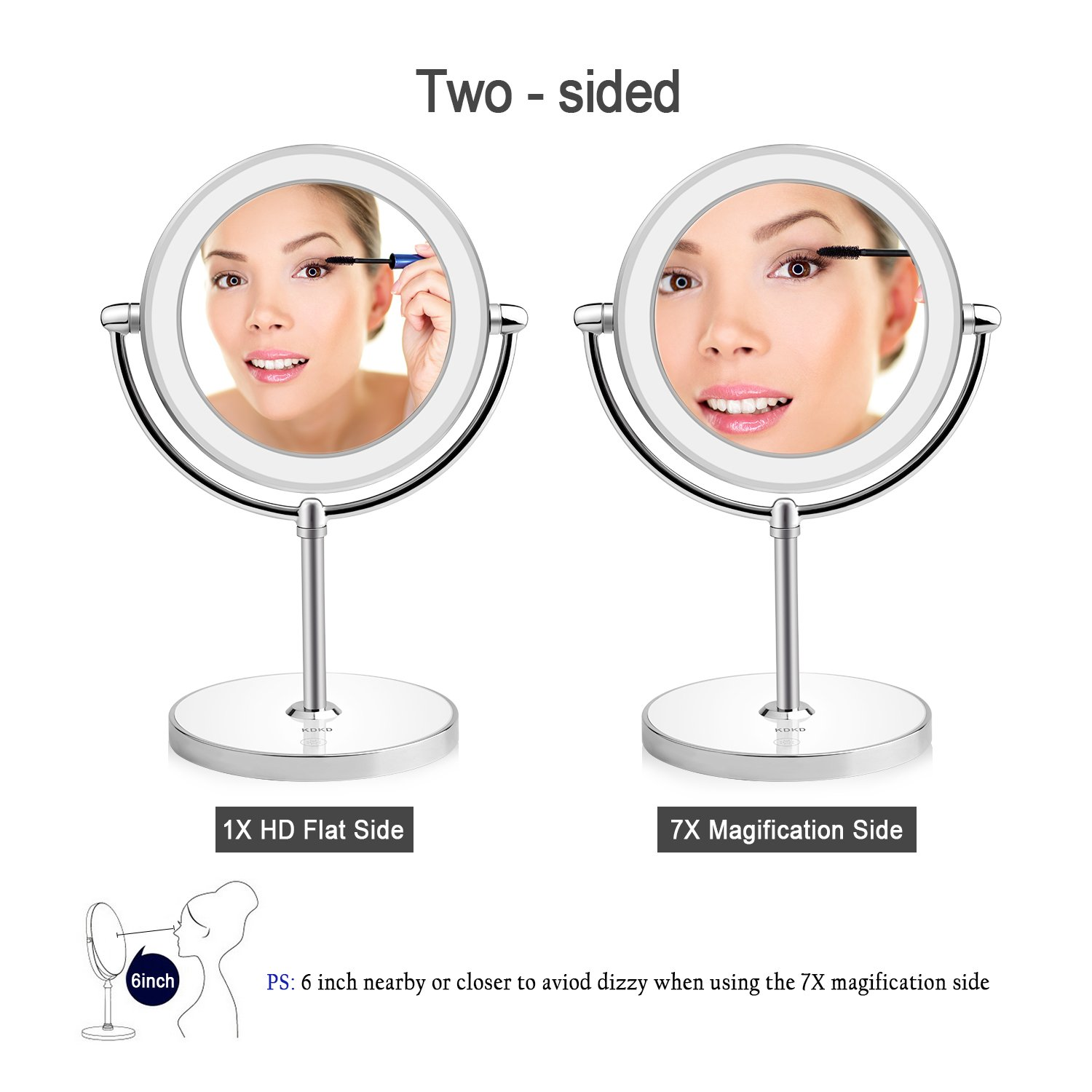 KDKD Lighted Makeup Mirror 1X 7X Magnification Double Sided Round Shape with Base Touch Button, Cordless and Rechargeable by KDKD (Image #4)