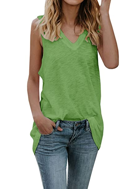a6bf0615b93d4a Dellytop Womens Workout Long Tank Tops Casual Loose Fit V Neck Sleeveless  Tunics Oversized Shirts