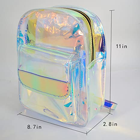 Amazon.com | Kennedy Transparent Laser Holographic Backpack Fashion Clear Candy Color Daypack Travel Backpack Satchel Backpack School Bag | Kids Backpacks