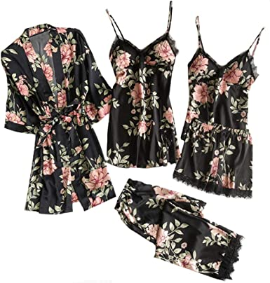 Women/'s Short Sleeve Silk Satin Pajamas Set Print Sleepwear Homewear Nightwear