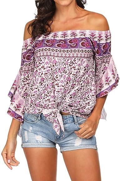 Qingsiy Blusas Sin Tirantes para Mujer, Camisas Mujer del Hombro ...