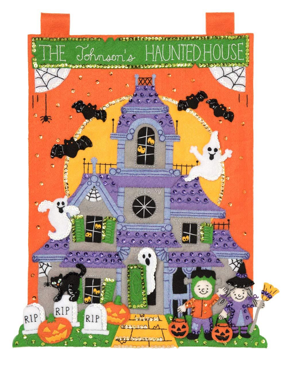 Bucilla Felt Applique Wall Hanging Kit, 14 by 18-Inch, 86920E The Haunted House Plaid Enterprises