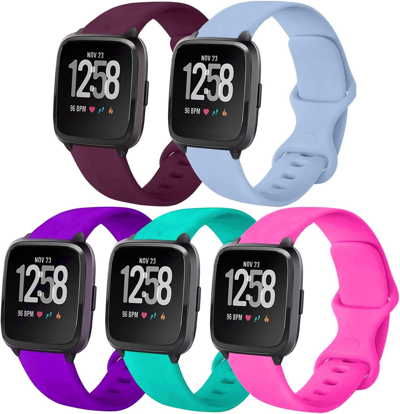 5 Pack Sport Band Compatible with Watch 38mm 40mm Bands, Silicone Replacement Strap Women Men for Watch Series SE 6 5 4 3 2 1 - Teal/Plum/Purple/Bright Pink/Light Blue, 38mm 40mm S/M