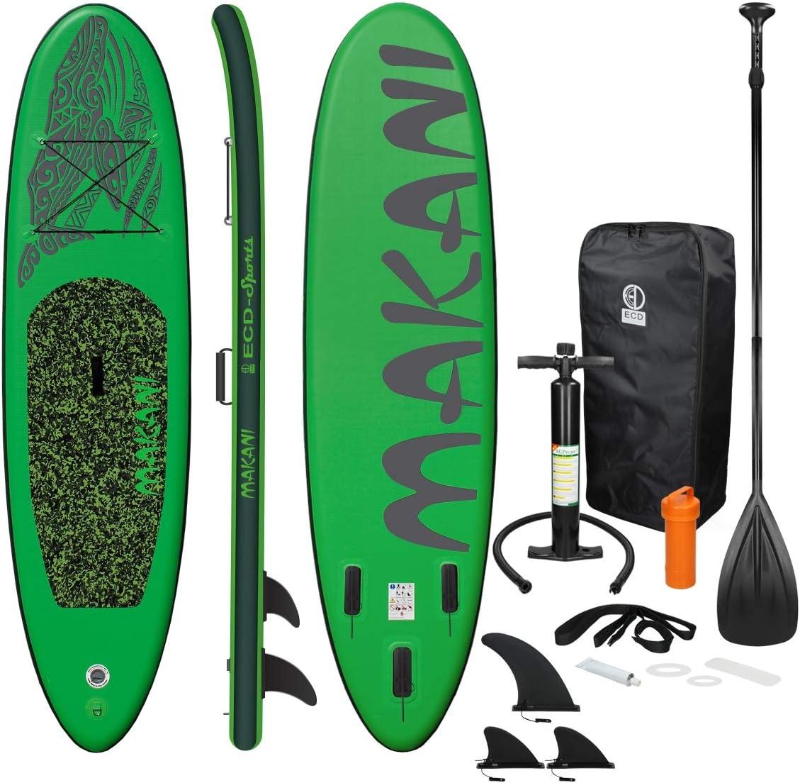 ECD Germany Tabla Hinchable Makani Paddle Surf/Sup 320 x 82 x 15 cm Verde Stand up Paddle Board PVC/EVA hasta 150kg 3 Antideslizantes Diferentes Modelos Incluye Paleta Aluminio Bomba y Accesorios