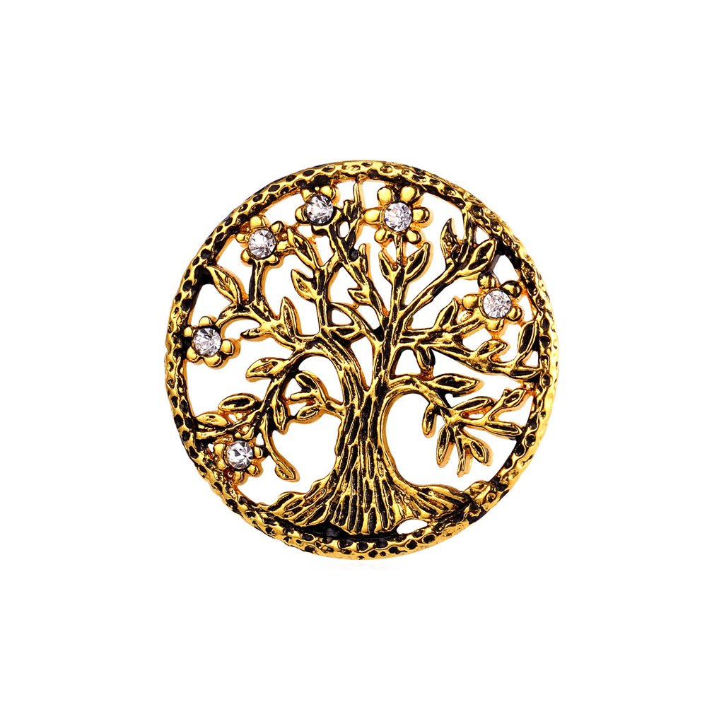 U7 Brooch Women Men 18K Gold Plated Tree Of Life Design Round Lapel Stick Pin For Hat,Bag,Suit