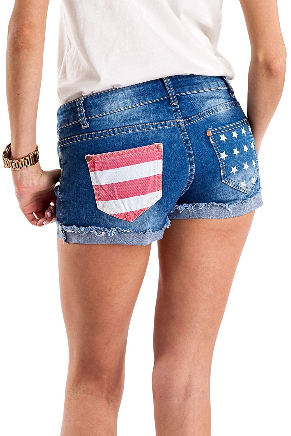 4bccd944b7 Tipsy Elves Women's Patriotic Red White and Blue Summer Beach Denim Jean  Shorts at Amazon Women's Clothing store: