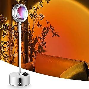 Sunset Projector Lamp,WHATOOK Sunset Projection Lamp Night Light Romantic Visual Led Light USB Table Lamp for Tiktok Instagram Bedroom Wall Decor