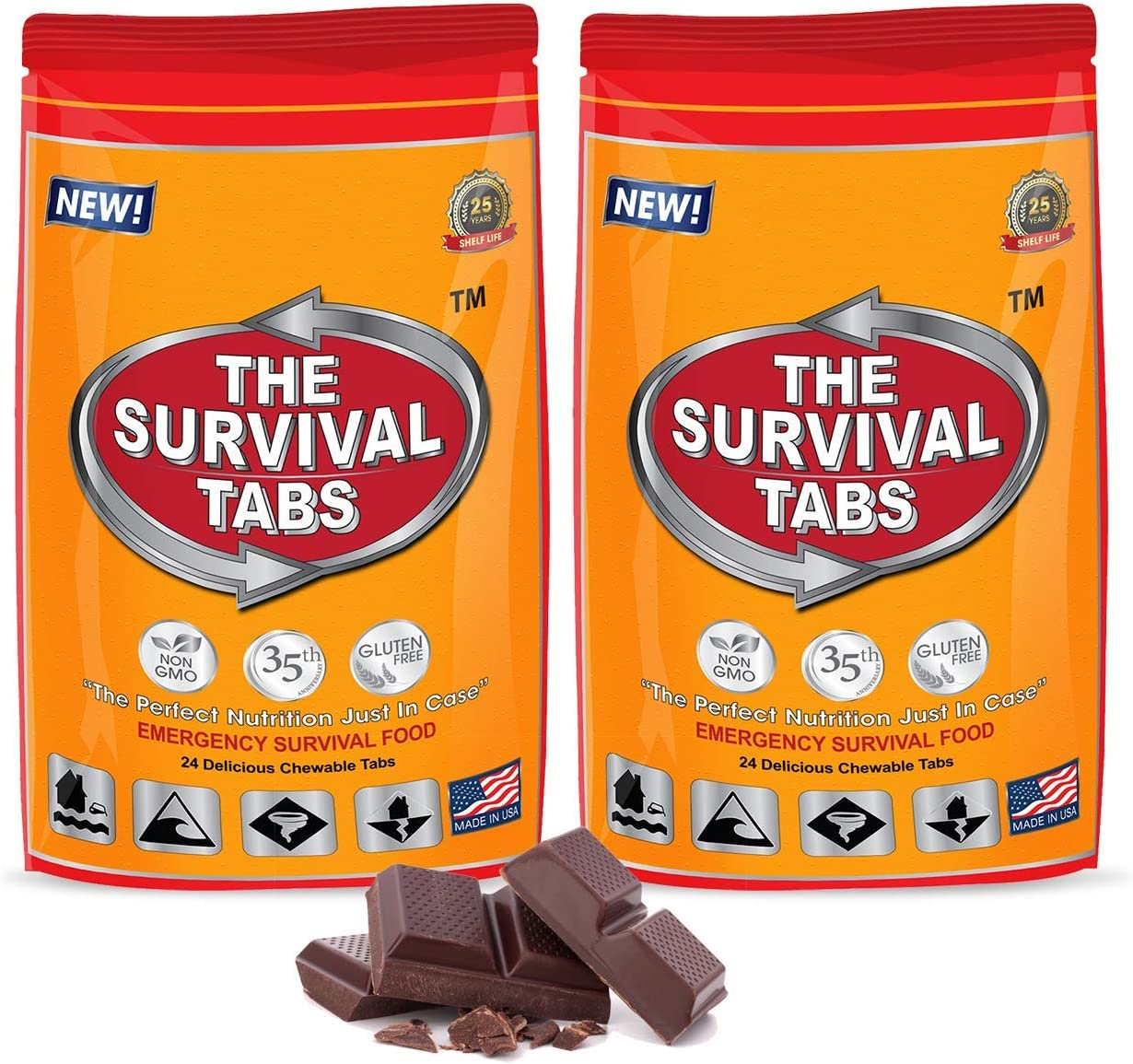 Food Rations, 2 Pack of 24 tabs   Emergency Food Ration Pack, 480 Calories none-GMO gluten-free 25 years shelf life (Chocolate)