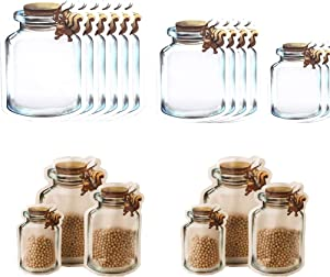 Enkrio 12 Pack Mason Jar Zipper Bags, Reusable Airtight Seal Ziplock Food Storage Bags Nuts Candy Tea Cookies Sandwich Bags for Kids Kitchen Home(6 Large,4 Medium,2 Small)