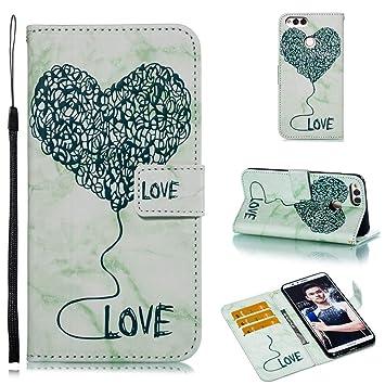 AXRXMA Mármol Texturizado Pintado Amor patrón Flip PU Billetera de Cuero Cubierta de la Caja para Huawei Honor 7X (Color : Verde): Amazon.es: Electrónica