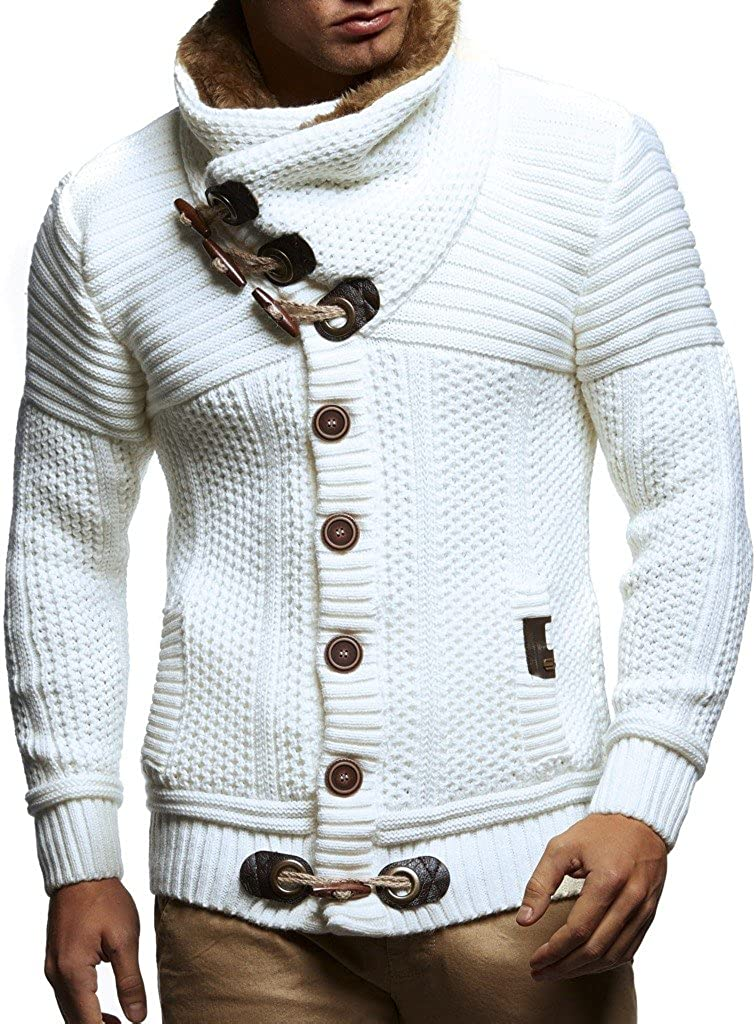 Leif Nelson Leif Nelson Men's Knitted Jacket Turtleneck Cardigan Winter Pullover Hoodies Casual Sweaters Jumper LN7100