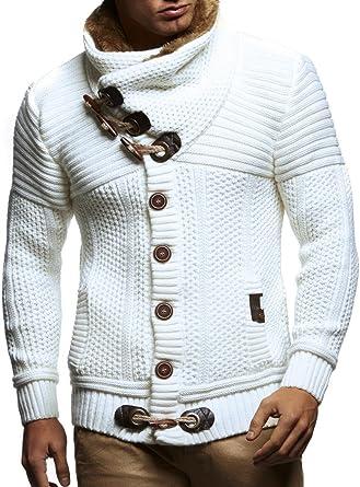 5ea53776fc Leif Nelson LN7100 Men s Turtleneck Cardigan With Faux Fur Collar  Size US  XS  EU