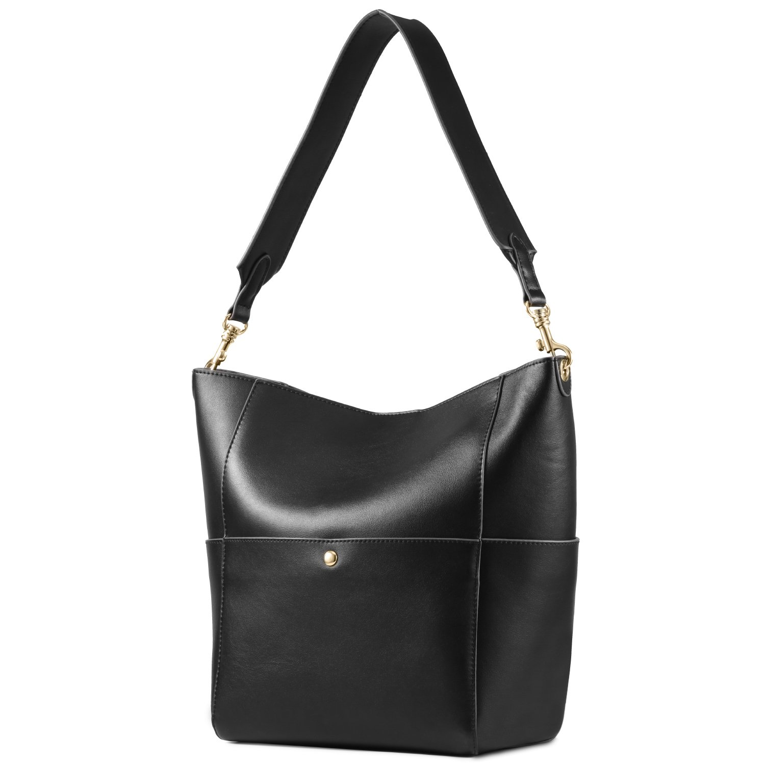 53d60d106461 Amazon.com  Kattee Women s Cowhide Leather Tote Shoulder Bag Hobo Handbag  Shoulder Bucket Bag (Black)  Shoes