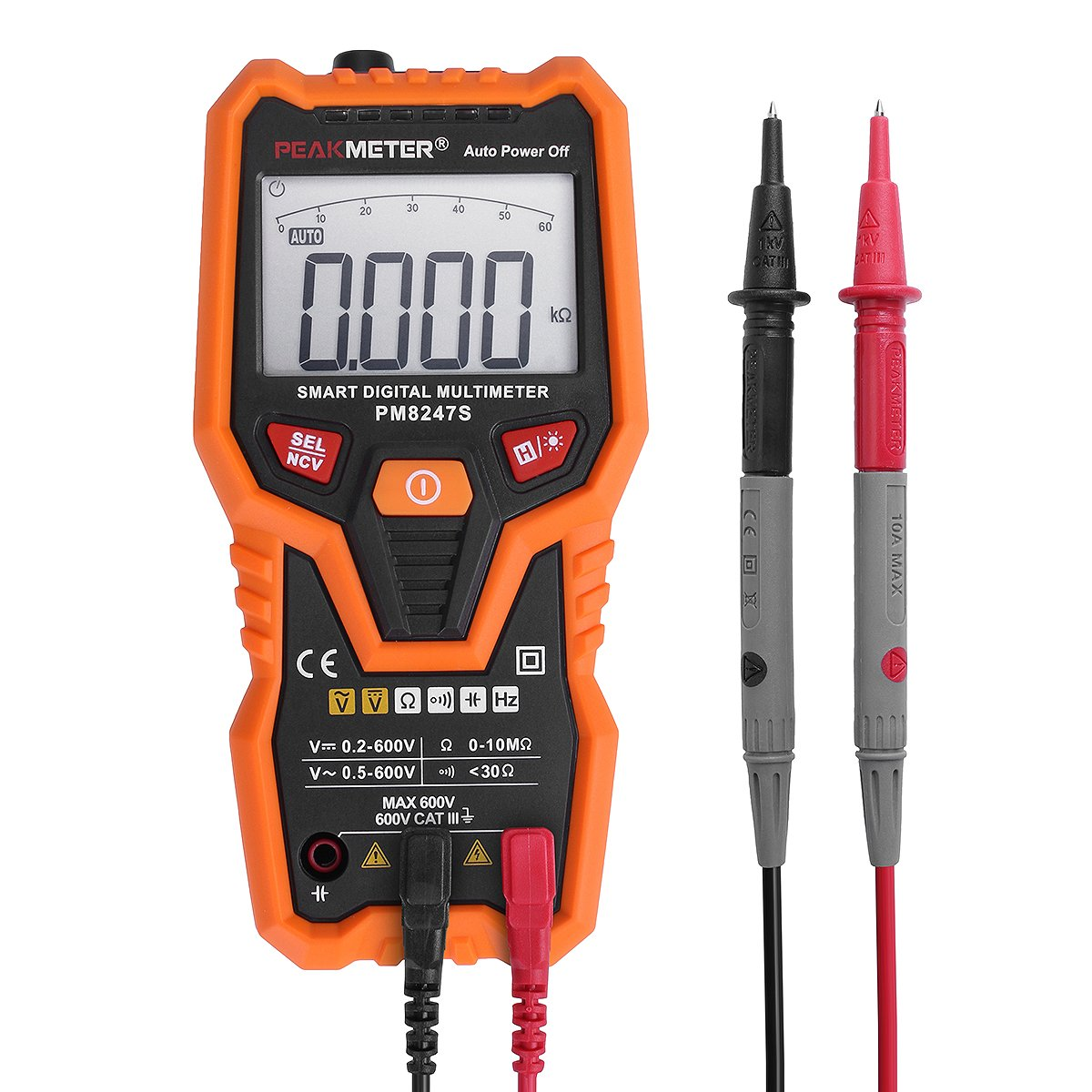 Smart RPS Digital Multimeter, PEAKMETER PM8247S Auto Range Professional DC AC Multimeter Voltage Current Tester