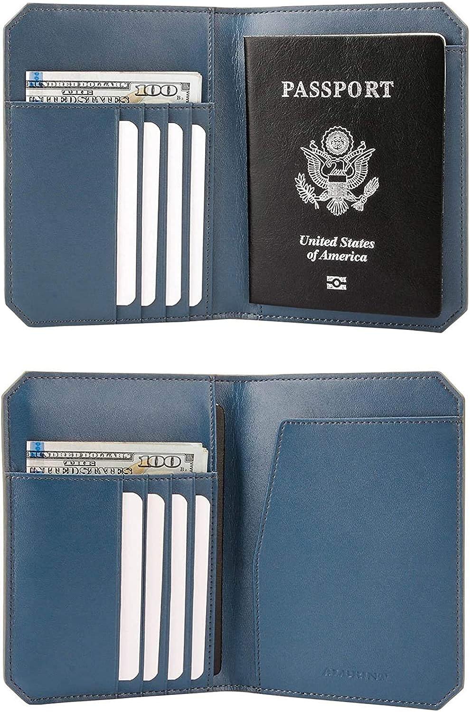   Travel Passport Holder Rfid Blocking Leather Passport Wallet Slim Cover, Basalt Grey   Passport Wallets