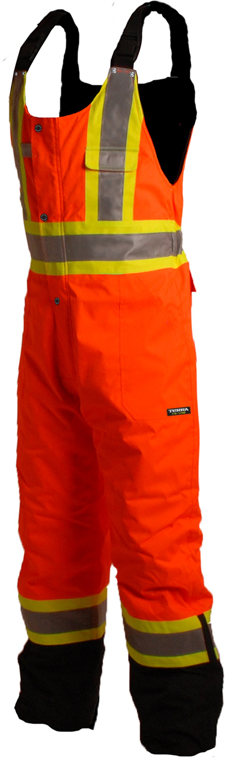 Terra 116507ORXL High-Visibility Lined Reflective Safety Bib Overall, Orange, X-Large