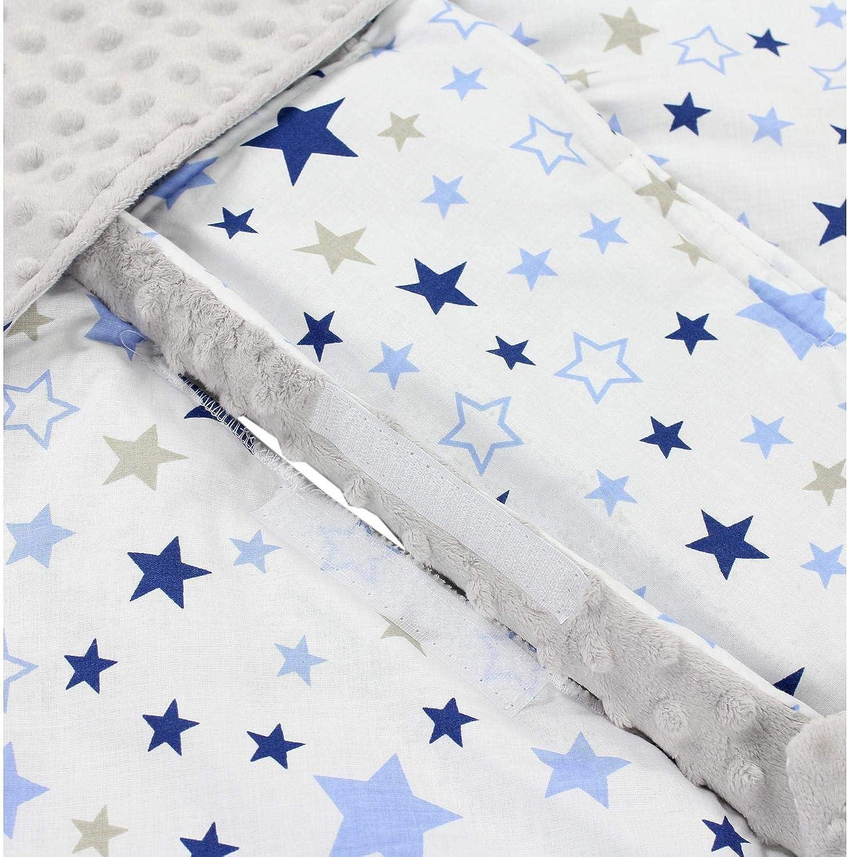 Farbe: Sterne Blau Dunkelblau//Hellgrau 75 x 75 cm TupTam Einschlagdecke 5 Punkt Gurt f/ür Babyschale Gr/ö/ße: ca Sommer