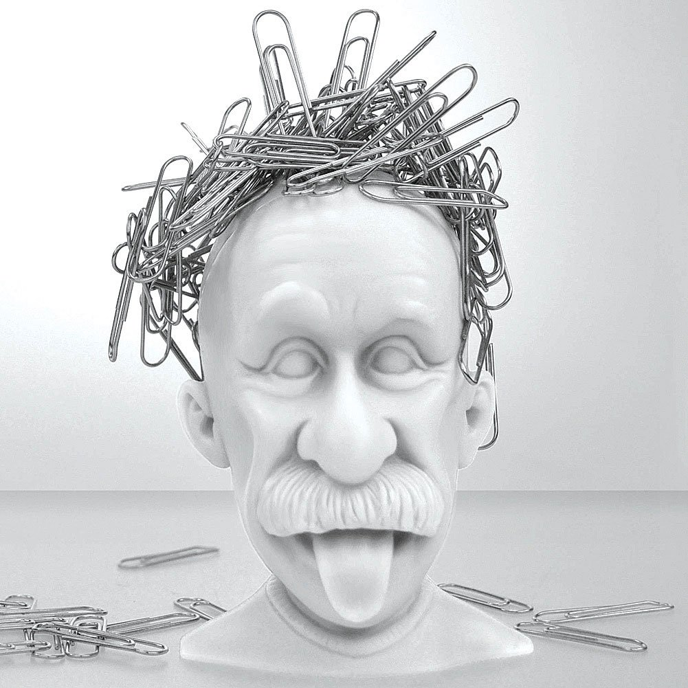 Albert Einstein Genius Bald Headed Magnetic Paper Clip Holder Desk Accessory Mustard 17502