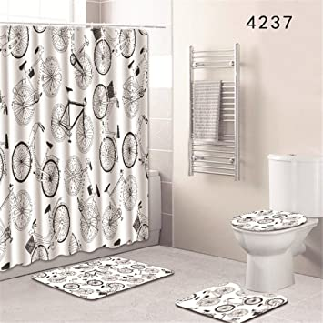 Nautical Black /& White Anchor Shower Curtain Bathroom Waterproof Fabric /& 12Hook