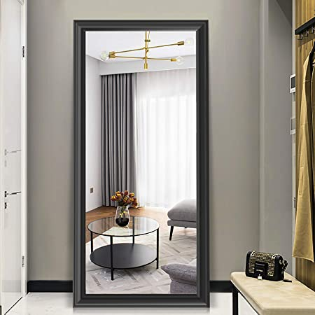 PexFix Rectangular Full Length Mirror Bedroom Floor Mirror Standing or Hanging, 65 x22 Black