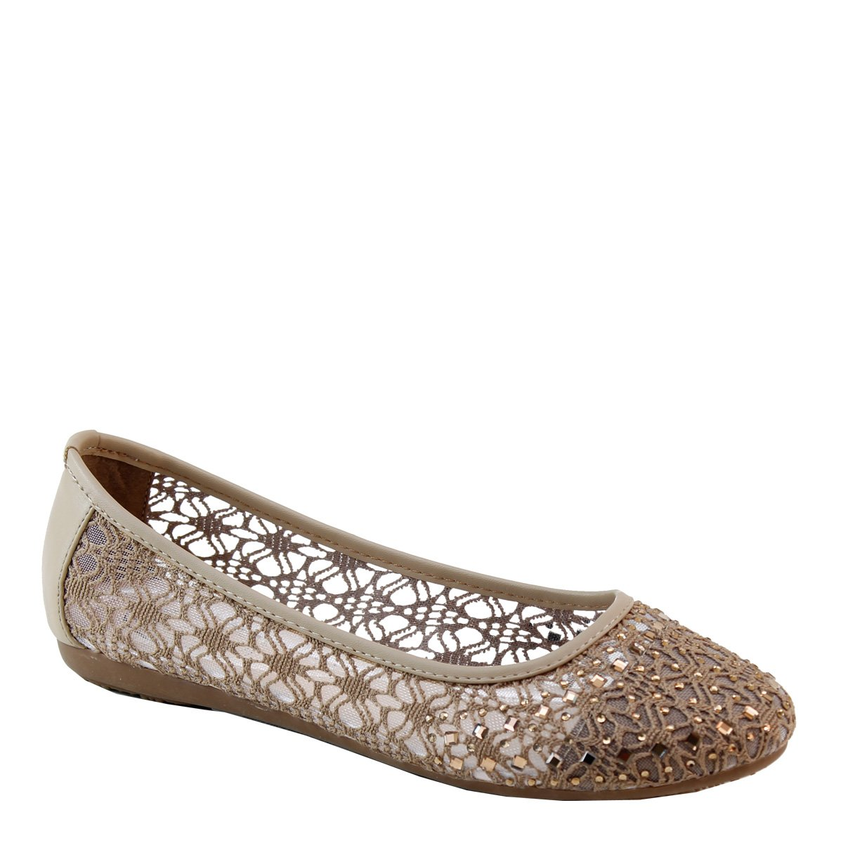 Brieten Womens Floral Emboid Studded Flat Shoes