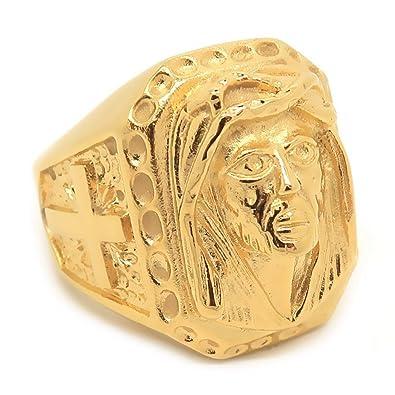 06128997ddb0 BOBIJOO Jewelry - Gran sortija de Sello de Oro en la Cabeza de Jesús de la  Cruz del Acero Inoxidable de Oro Viajeros de los Gitanos  Amazon.es  Joyería